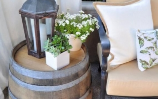 Used Oak Barrel as Side Table - Deck Decorating Ideas