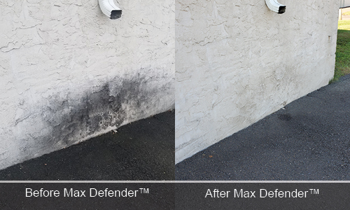 Max Defender before and after DeckMax Concrete Wall Stain