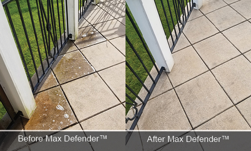 Max Defender before and after DeckMax Patio tiles