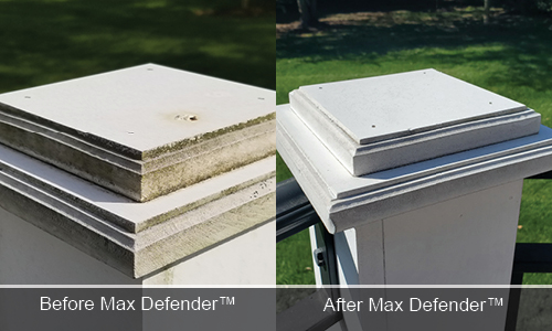 Max Defender before and after DeckMax fence posts